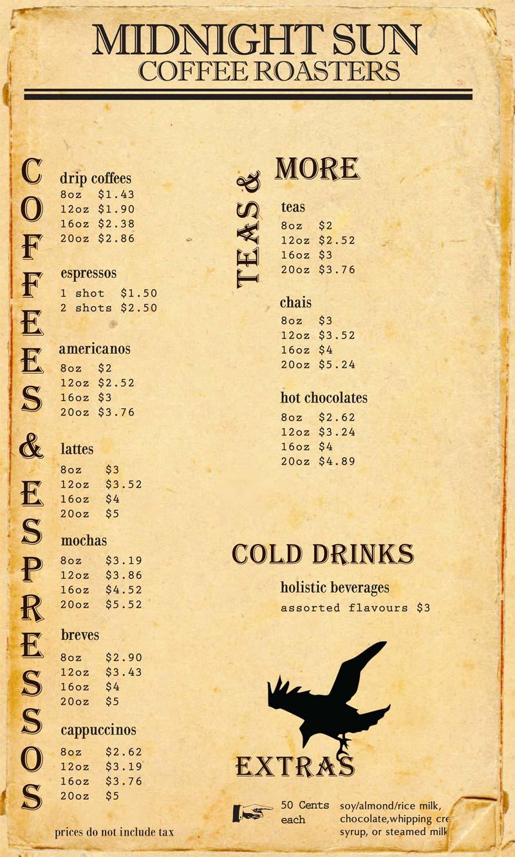 menu midnight sun coffee roasters coffee shop